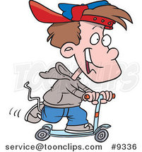 Cartoon Boy Riding a Scooter by Ron Leishman