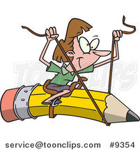 Cartoon Business Woman Riding a Pencil by Ron Leishman