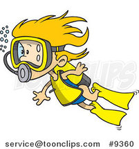Cartoon Scuba Girl Swimming by Ron Leishman