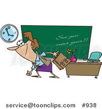 Cartoon Female Teacher Leaving Class on the Last Day of School by Toonaday