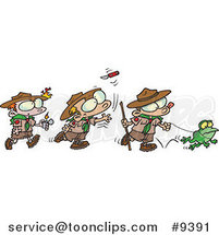 Cartoon Group of Boy Scouts Outdoors by Ron Leishman