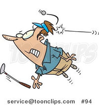 Cartoon Golfer Being Hit by a Golf Ball by Ron Leishman