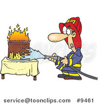 Cartoon Firefighter Extinguishing a Birthday Cake by Ron Leishman