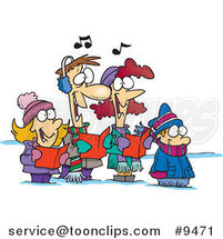 Cartoon Family Singing Christmas Carols by Ron Leishman