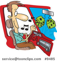Cartoon Guy Listing to Tunes in His Car by Ron Leishman