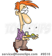 Cartoon Guy with Stinky Cafeteria Food by Ron Leishman