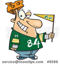 Cartoon Cheese Head Sports Fan by Ron Leishman