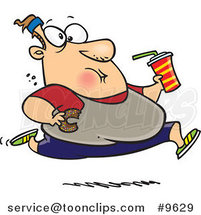Cartoon Fat Guy Running and Eating Junk Food by Ron Leishman