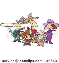 Cartoon Western Cowboy Family by Toonaday