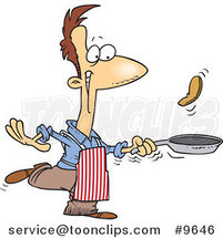 Cartoon Guy Flipping Pancakes by Ron Leishman