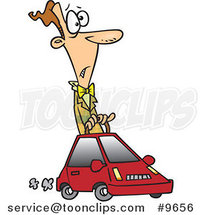 Cartoon Guy Driving a Compact Car by Ron Leishman