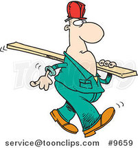 Cartoon Construction Worker Carrying a Wood Slat by Ron Leishman