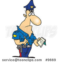 Cartoon Tough Cop Writing a Ticket by Ron Leishman