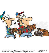 Cartoon Father and Son Carrying Wood by Toonaday