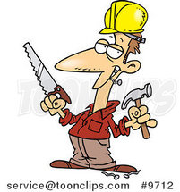 Cartoon Construction Guy Holding a Hammer and Saw by Ron Leishman