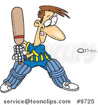 Cartoon Guy Playing Cricket by Ron Leishman