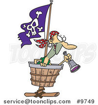 Cartoon Pirate in a Crows Nest by Toonaday