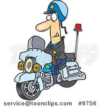 Cartoon Motorcycle Cop by Ron Leishman