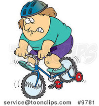 Cartoon Chubby Guy Riding a Bike with Training Wheels by Ron Leishman