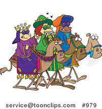 Cartoon Three Wise Kids Wearing Shades and Riding Camels by Ron Leishman