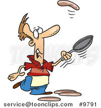 Cartoon Guy Learning to Flip Pancakes by Ron Leishman
