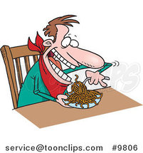 Cartoon Guy Eating Spaghetti at a Table by Ron Leishman