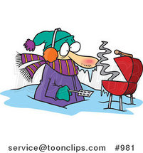 Cartoon Cold Guy Barbequeing Waist Deep in Snow by Ron Leishman