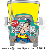 Cartoon Big Rig Hitting a Crossing Guard by Ron Leishman