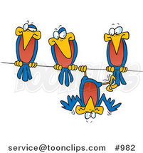 Cartoon Silly Bird Hanging Upside down on a Wire by His Friends by Toonaday