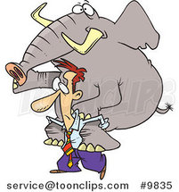 Cartoon Business Man Giving an Elephant a Piggy Back Ride by Toonaday