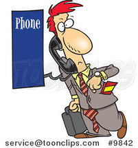 Cartoon Business Man Using a Pay Phone by Ron Leishman