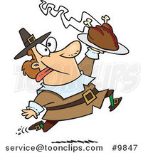 Cartoon Goofy Pilgrim Carrying a Hot Turkey by Ron Leishman
