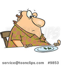 Cartoon Fat Guy Eating Peas by Ron Leishman