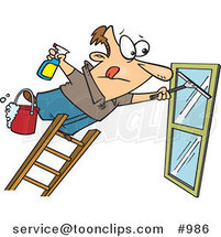 Cartoon Window Cleaner Leaning Far over a Ladder by Toonaday
