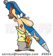 Cartoon Business Man Holding a Huge Pen by Ron Leishman