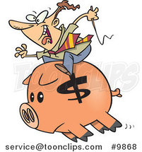 Cartoon Business Man Riding a Piggy Bank by Toonaday