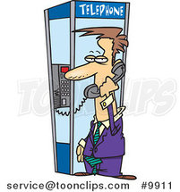 Cartoon Business Man in a Phone Booth by Ron Leishman