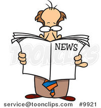 Cartoon Standing Business Man Reading the News by Ron Leishman