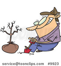 Cartoon Guy Planting a Tree by Ron Leishman