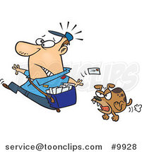 Cartoon Mail Guy Running from a Dog by Ron Leishman
