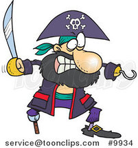 Cartoon Tough Pirate with a Sword by Toonaday