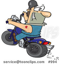 Cartoon Biker Riding a Blue Hog and Looking Back by Ron Leishman