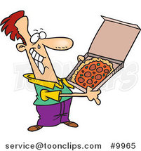 Cartoon Happy Guy with Pizza by Ron Leishman