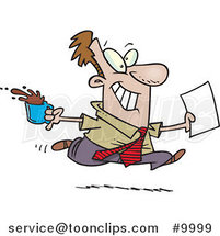 Cartoon Business Man Fetching Coffee and Paperwork by Ron Leishman