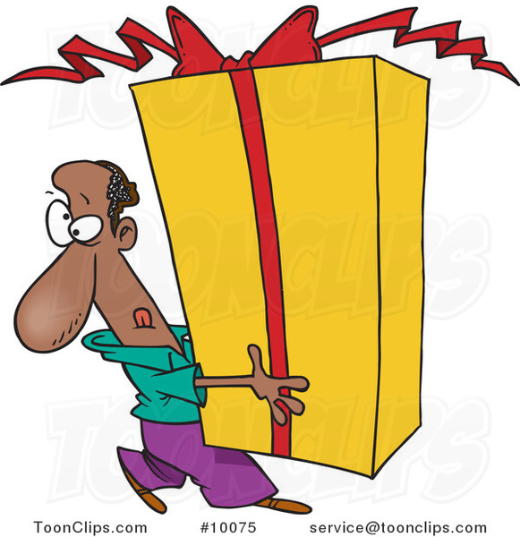 Cartoon Black Guy Holding a Giant Gift
