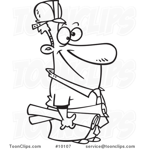 Construction Manager Cartoon : Cartoon black and white line drawing of a construction