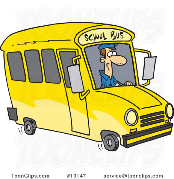 Cartoon School Bus Driver