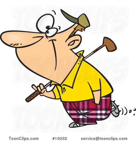Cartoon Golfing Guy