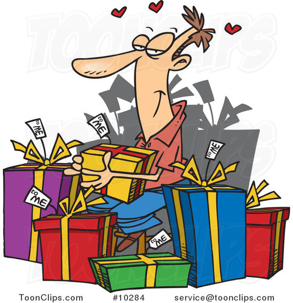Cartoon Guy Giving Himself Gifts
