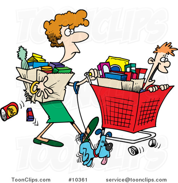 Cartoon Lady Shopping with Her Son